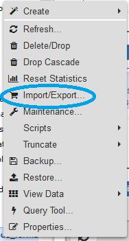 commande import/export de pgadmin 4