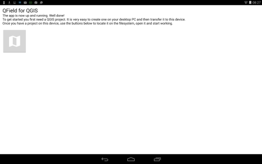 fin de l'installation de qfield sur un dispositif mobile android