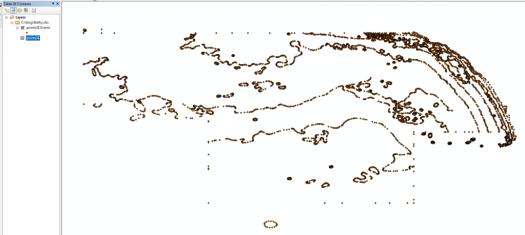 affichage de la couche d'événements XY dans arcmap