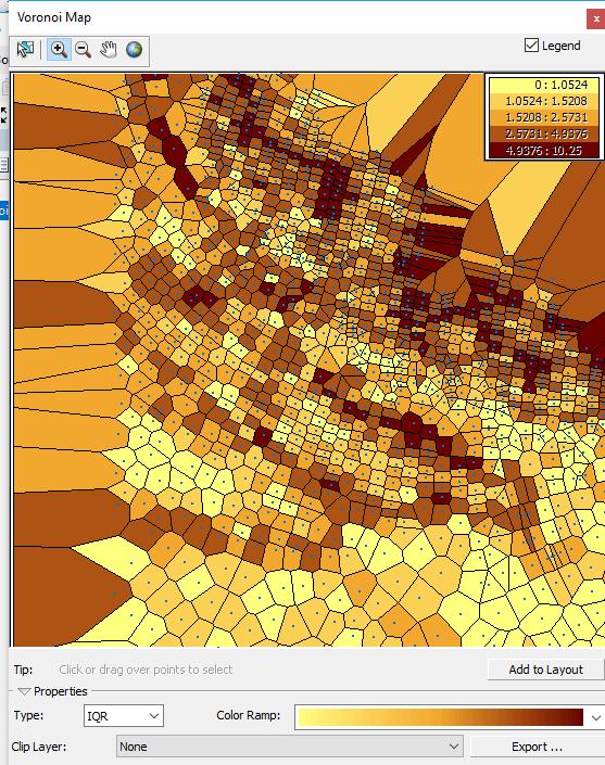 carte des polygones de voronoï des écarts de quartiles