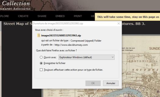 enregistrement du téléchargement de la sélection dans David Rumsey Map Collection