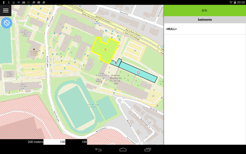 mode parcouyrir de qfield  sur le dispositif mobile android