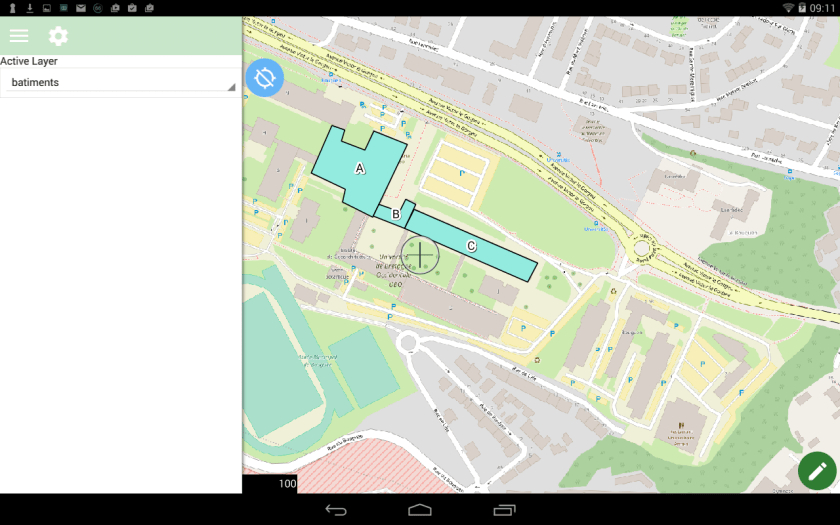 mode dessiner de qfield  sur le dispositif mobile android