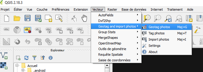 Lancement du plugin geotag and import photos de qgis