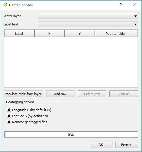 fenêtre de paramétrage de geotag photos
