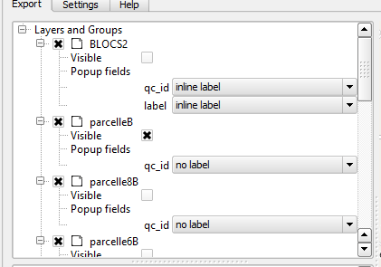 panneau layers and groups du plugin qgis2web de qgis