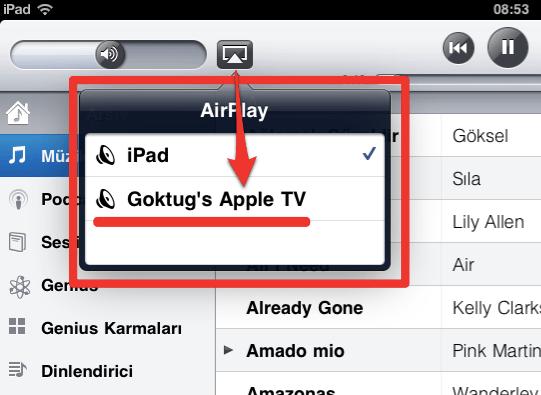 Sihirli elma apple tv airplay iPad 2a