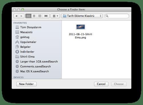 Sihirli elma automator 15 select files