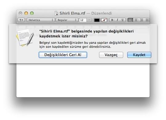 Sihirli elma mac belge dosya degisiklik otomatik kaydet 7