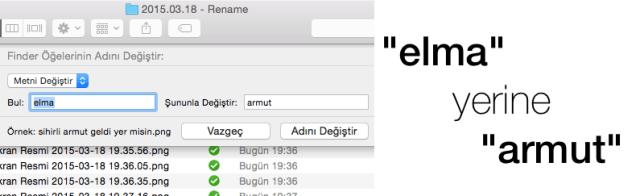 Sihirli elma mac toplu dosya isim degistirme numaralandırma feat