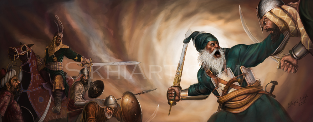 Baba Deep Singh, Baba Deeep Singh ji Shaheed Defends Harmandir Sahib, Golden Temple, Amritsar, Sikhi Art Punjab Paintings, Sikh Warriors, Bhagat Singh Bedi, Art of Sikhism