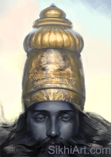 Vishnu ji, Narayan, Golden Top Knot cropped close-up, Hindu Gods, Hindu art Punjab, Paintings, Bhagat Singh Bedi