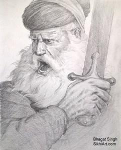 Baba Deep Singh by artist Bhagat Singh