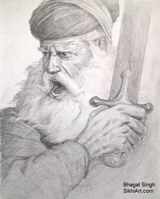 Baba Deep Singh, Sikh Warriors, Sikhi, Art, Punjab, Drawings, Sketches Bhagat Singh Bedi