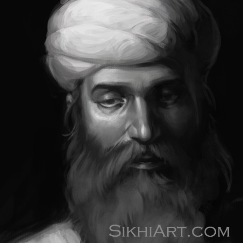 Guru Nanak Dev, Guru Nanak Young, Sikh Gurus Portrait, Sikhi, Art and History of Punjab, Drawings, Sketches Bhagat Singh Bedi
