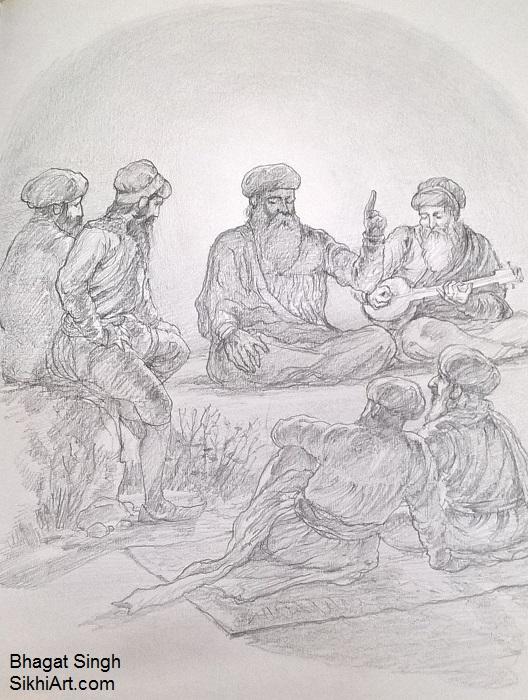 Guru Nanak Dev ji, Guru Nanak, Bhai Mardana, sikh gurus, Sikhi, Art, Punjab, Drawings, Sketches Bhagat Singh Bedi