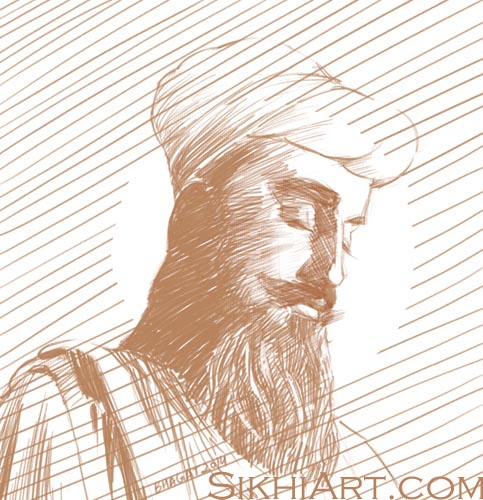 Guru Tegh Bahadur, Tyag Mal, Hind di Chadar, Sikh Gurus Sketches, Sikhi Art and Drawings, Punjabi Pictures, Drawings and Sketches by Sikh Punjabi Artist Bhagat Singh Bedi, Ink, Colour