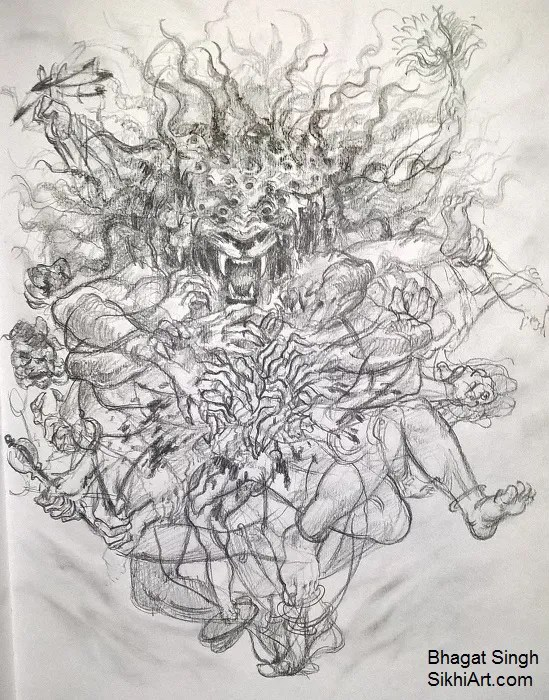 Narasimha, Narasingh, narayan, thousand eyes, forms, formless, man-lion god, Vishnu, Hindu Gods, Sikhi, Art, Punjab, Drawings, Sketches Bhagat Singh Bedi
