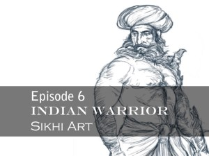 Indian warrior, drawing tutorial, sword, shield, turban, muscular