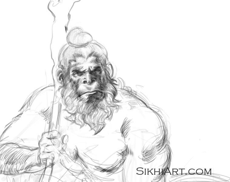 Hanuman ji, Hominid, Early Man, Monkey God, Hindu Gods, Sikhi, Art, Punjab, Drawings, Sketches, Bhagat Singh Bedi