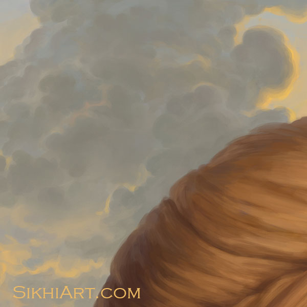 Adi Guru - Guru Nanak Dev ji Fluffy Clouds Turban Sky Close-up Portrait Painting Meditation Dhyan Sikh Art Punjab Painting by Bhagat Singh Bedi