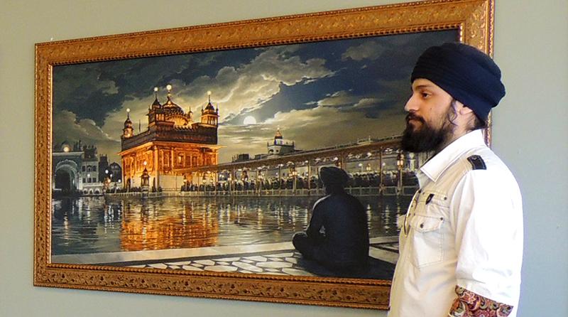 Sikh Art, Wonder of Punjab, Golden Temple at Night, Meditations under the Moonlight, Amritsar, with artist Bhagat Singh Bedi