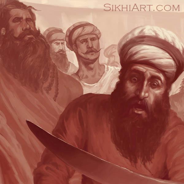 Shocked Sangat, Guru Gobind Singh ji, Vaisakhi, 1699, Khalsa, Anandpur Sahib Punjab Painting by Artist Bhagat Singh Sikhi Art