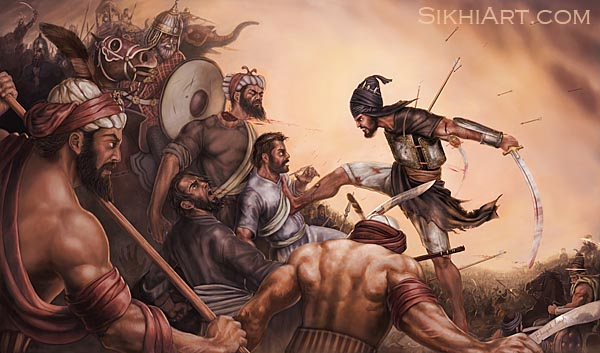 Sahibzada Ajit Singh, Battle of Chamkaur Bhagat Singh Bedi Sikhi Art Heritage of Punjab, Sikh and Punjabi Paintings