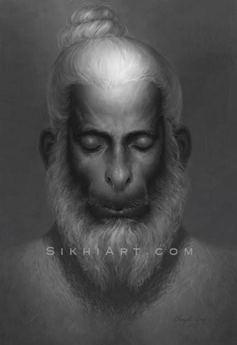 Hanuman ji Meditating on Shri Ram ji, Bajrangbali, top-knot, beard, monkey, God, divine being, bhakti, warrior, bhakta, bhagat, bhagti, Hindu mythology, Art of Hinduism, Art of Vaishnavism, by Artist Bhagat Singh Bedi, Sikhi Art