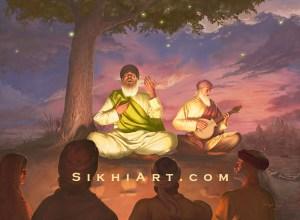 Guru Nanak Dev ji - Shabad Vichar - Bhai Mardana - Haridwar - Sikh Artist Bhagat Singh Bedi - Sikhi Art