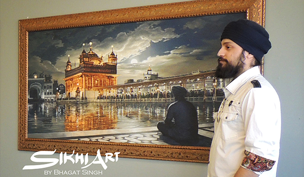 Artist Bhagat Singh Bedi with his Sikh Art Golden Temple Painting