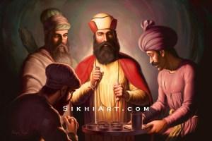 Guru Nanak Dev ji - Supper at Bhai Lalo ji's Home - Sikh Art by Bhagat Singh Bedi