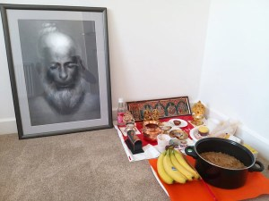 Hanuman ji Meditating on Shri Ram ji - Framed Art Print - by Bhagat Singh of Sikhi Art - Harjas Singh Shinmar Collection