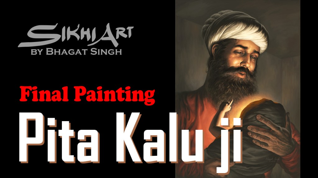 The Making of Pita Kalu ji holding Baby Guru Nanak Dev ji, Video of Painting, Tutorial, Youtube Video, Sikh art of Punjab