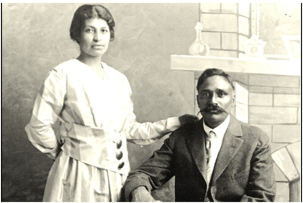 """""""(From Karen Leonard's Punjabi Mexican American Papers/ Courtesy of Dept. of Special Collections, Stanford University Libraries ) - Valentina Alvarez and Rullia Singh are seen posing for their wedding photo in 1917. They are among the thousands of Punjabi-Mexican couples which sprouted up across the Southwestern United States in lieu of anti-immigration laws."""" (source: The Washington Post)"""