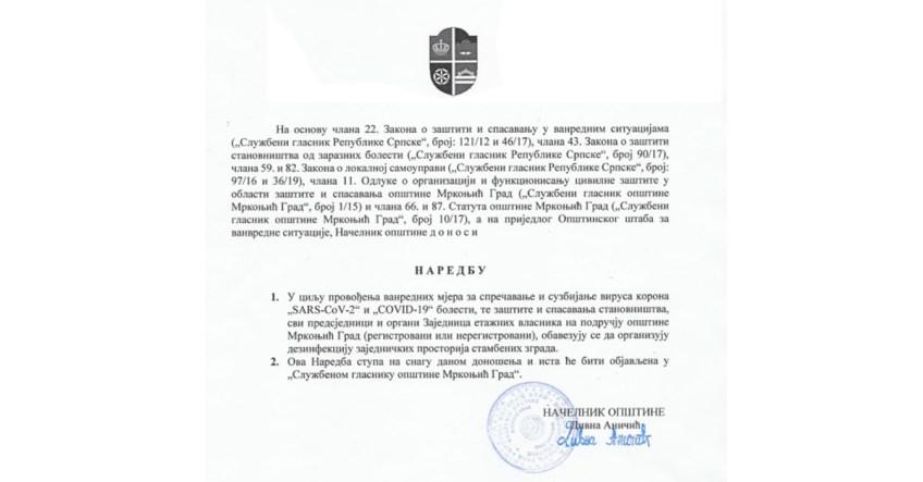 Mrkonjić Grad – Naredba štaba: Dezinfikovati stambene zgrade