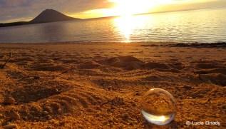 Sunset on Siladen sandy beach