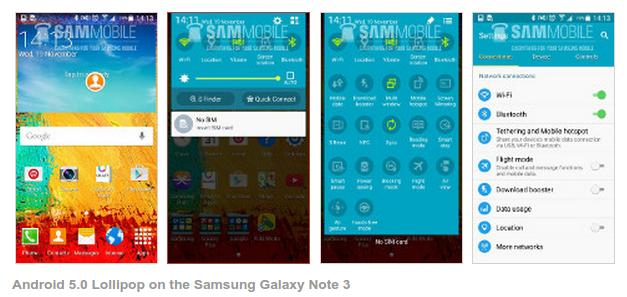 Android Lollipop di Galaxy Note 3