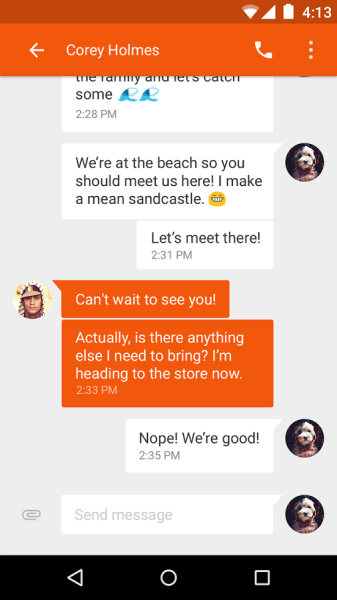 Google Messenger UI