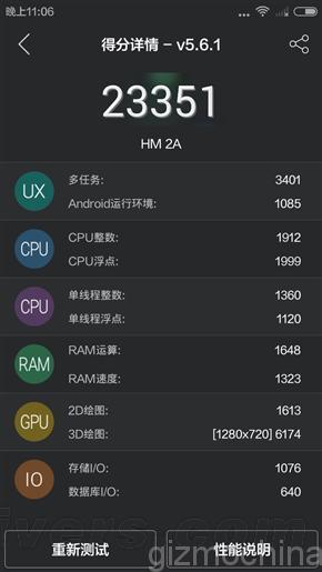Benchmark Xiaomi Redmi 2A