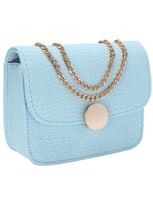Blue Crocodile Embrossed Leather Double Chains Bag