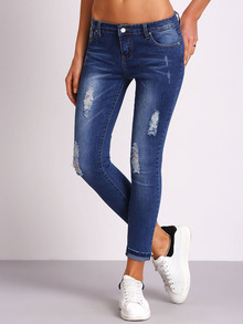 Blue Ripped Bleached Denim Pant