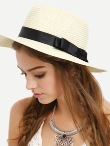 chapeau avec nœuds -beige