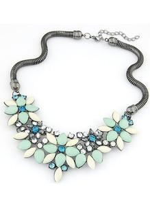 collier avec pierre motif à fleur -bleu