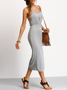 Grey Halter Backless Split Dress
