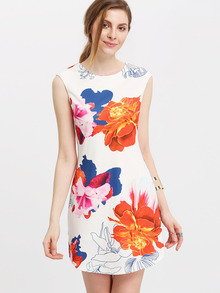 Multicolor Cap Sleeve Floral Print Mini Dress