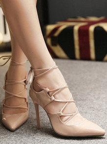 Nude Lace Up High Stiletto Heel Pumps