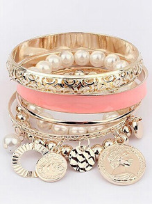 Set de bracelets avec perles -rose