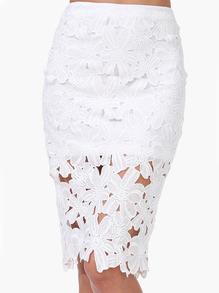 White Crochet Pencil Skirt