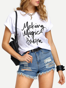 White Letters Print Cuffed T-shirt